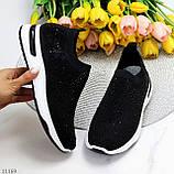 Нарядные удобные текстильные тканевые черные женские кроссовки в стразах, фото 2