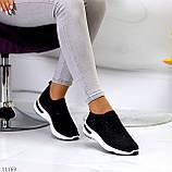 Нарядные удобные текстильные тканевые черные женские кроссовки в стразах, фото 4
