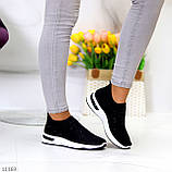 Нарядные удобные текстильные тканевые черные женские кроссовки в стразах, фото 5