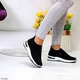 Нарядные удобные текстильные тканевые черные женские кроссовки в стразах, фото 6