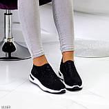 Нарядные удобные текстильные тканевые черные женские кроссовки в стразах, фото 8