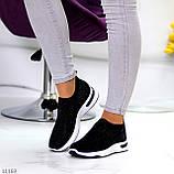 Нарядные удобные текстильные тканевые черные женские кроссовки в стразах, фото 9