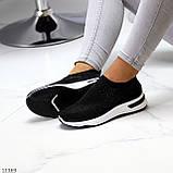 Нарядные удобные текстильные тканевые черные женские кроссовки в стразах, фото 10