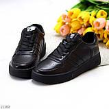 Повсякденні шкіряні чорні жіночі молодіжні кросівки натуральна шкіра, фото 3