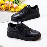 Повсякденні шкіряні чорні жіночі молодіжні кросівки натуральна шкіра, фото 4