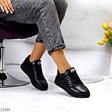 Повсякденні шкіряні чорні жіночі молодіжні кросівки натуральна шкіра, фото 6