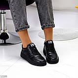Повсякденні шкіряні чорні жіночі молодіжні кросівки натуральна шкіра, фото 7