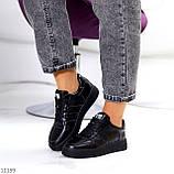 Повсякденні шкіряні чорні жіночі молодіжні кросівки натуральна шкіра, фото 8