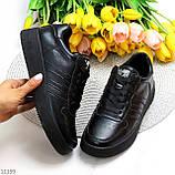 Повсякденні шкіряні чорні жіночі молодіжні кросівки натуральна шкіра, фото 9