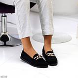 Комфортні замшеві чорні жіночі мокасини натуральна замша з декором, фото 2