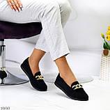 Комфортні замшеві чорні жіночі мокасини натуральна замша з декором, фото 3