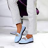 Комфортні шкіряні блакитні жіночі мокасини натуральна шкіра флотар 38-24,5 см, фото 6