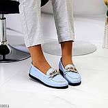Комфортні шкіряні блакитні жіночі мокасини натуральна шкіра флотар 38-24,5 см, фото 10
