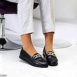Шкіряні чорні жіночі мокасини натуральна шкіра з декором 38-24,5 см, фото 6