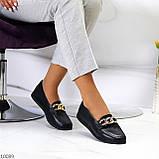 Шкіряні чорні жіночі мокасини натуральна шкіра з декором 38-24,5 см, фото 8