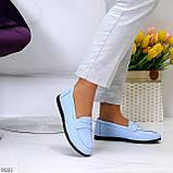 Зручні повсякденні шкіряні сині сині жіночі мокасини натуральна шкіра 36-23,5 см, фото 9