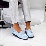 Зручні повсякденні шкіряні сині сині жіночі мокасини натуральна шкіра 36-23,5 см, фото 10