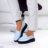 Удобные повседневные кожаные голубые женские мокасины лоферы натуральная кожа 38-24,5см, фото 5