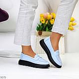 Удобные повседневные кожаные голубые женские мокасины лоферы натуральная кожа 38-24,5см, фото 6