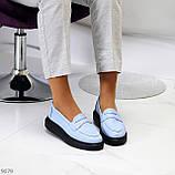 Удобные повседневные кожаные голубые женские мокасины лоферы натуральная кожа 38-24,5см, фото 7