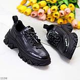Трендові шкіряні чорні жіночі кросівки натуральна шкіра на масивній підошві, фото 2