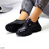 Трендові шкіряні чорні жіночі кросівки натуральна шкіра на масивній підошві, фото 4