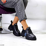 Трендові шкіряні чорні жіночі кросівки натуральна шкіра на масивній підошві, фото 5