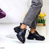 Трендові шкіряні чорні жіночі кросівки натуральна шкіра на масивній підошві, фото 7