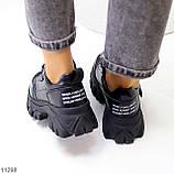 Трендові шкіряні чорні жіночі кросівки натуральна шкіра на масивній підошві, фото 8