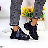 Трендові шкіряні чорні жіночі кросівки натуральна шкіра на масивній підошві, фото 9