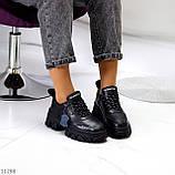 Трендові шкіряні чорні жіночі кросівки натуральна шкіра на масивній підошві, фото 10