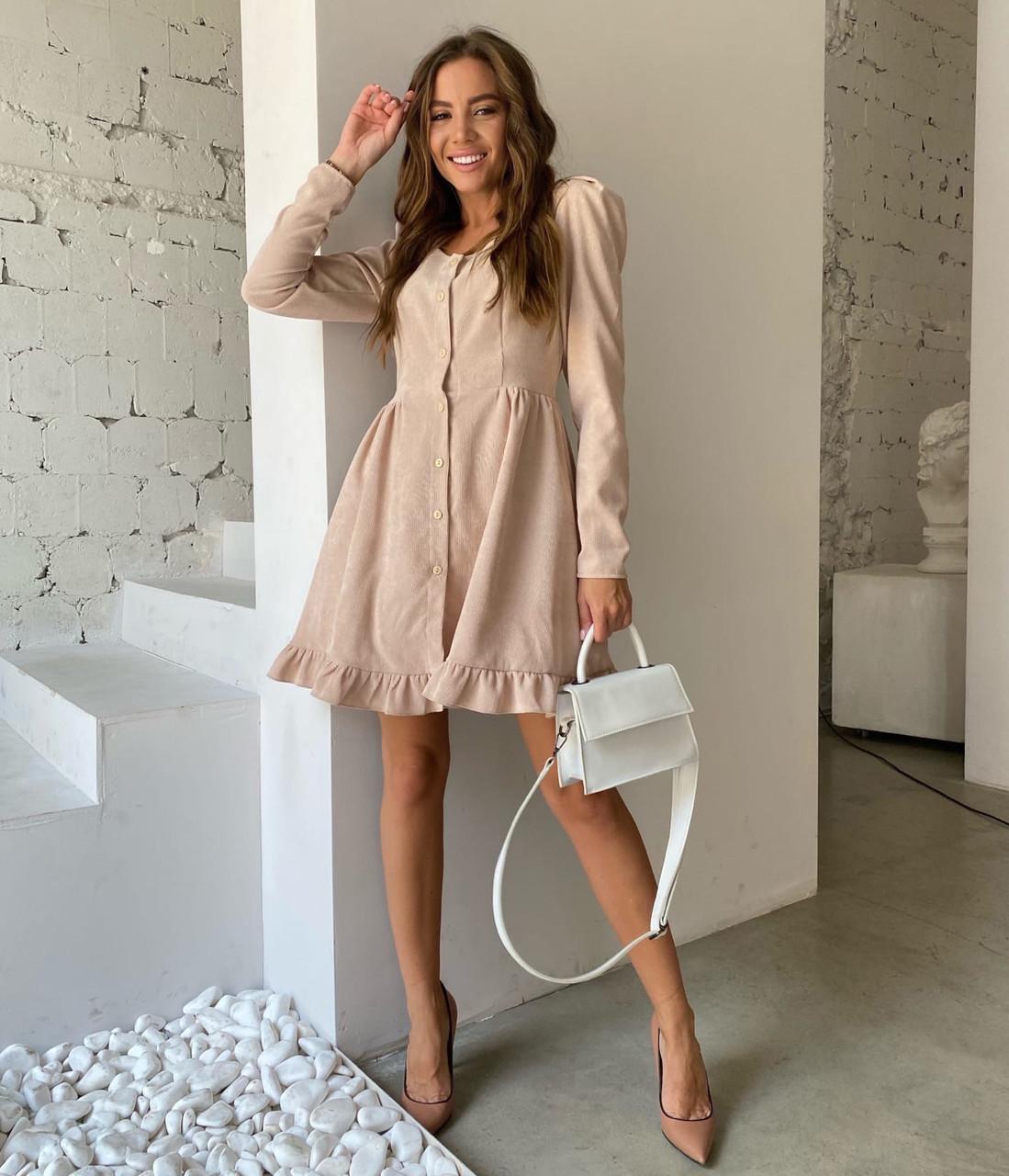 Вельветове плаття на пуговицях з довгим рукавом