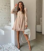Вельветове плаття на пуговицях з довгим рукавом, фото 1