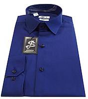 Мужская рубашка приталенная из сатина - синяя № 10-12 606/19-3939
