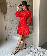 Літнє плаття в горошок з вирізом крапелька, фото 1