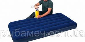Одноместный надувной матрас Intex Classic Downy 99х191х22 см.
