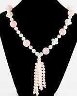 Бусы камень розовый кварц