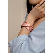 Шкіряний браслет косичка рожевий