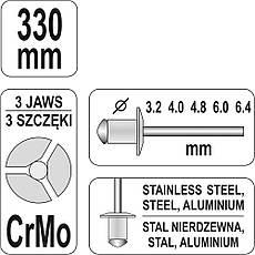 Заклепочник двуручный 330 мм Yato YT-3609, фото 3