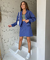 Женский вельветовый костюм с курткой и юбкой, фото 1