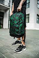 Рюкзак чорний з зеленим принтом гербарій. Стильний Рюкзак чорного кольору.
