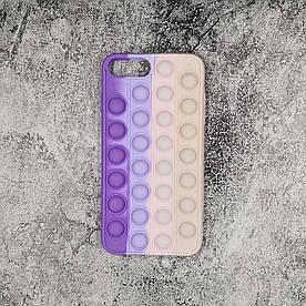 Чехол антистресс Pop It для iPhone 7 Plus силиконовый, Pop Bubble, Фиолетовый