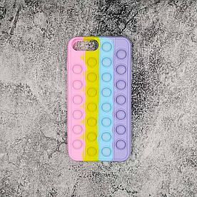 Чехол антистресс Pop It для iPhone 7 Plus силиконовый, Pop Bubble, Розовый