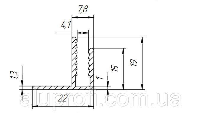 F-профиль алюминиевый угловой  под лист 4мм