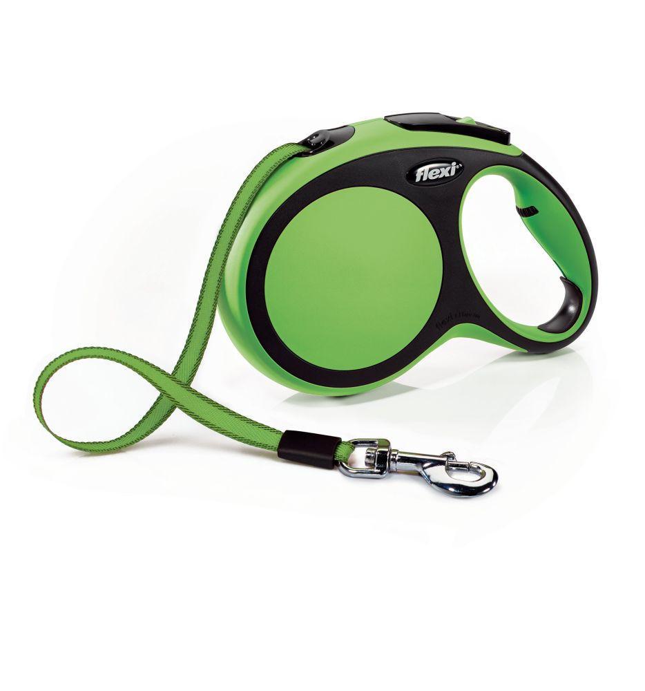 Поводок-рулетка Flexi зі стрічкою New Comfort L 8 м / 50 кг зелена