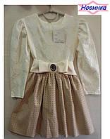 """Платье для девочки с гипюровым верхом """"Нюша4""""_10, упаковка 4 штуки, рост от 104 до 122 см"""