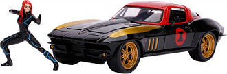 Машина металлическая Jada Марвел Мстители Chevrolet Corvette (1966) + фигурка Черной вдовы 1:24 (253225014)