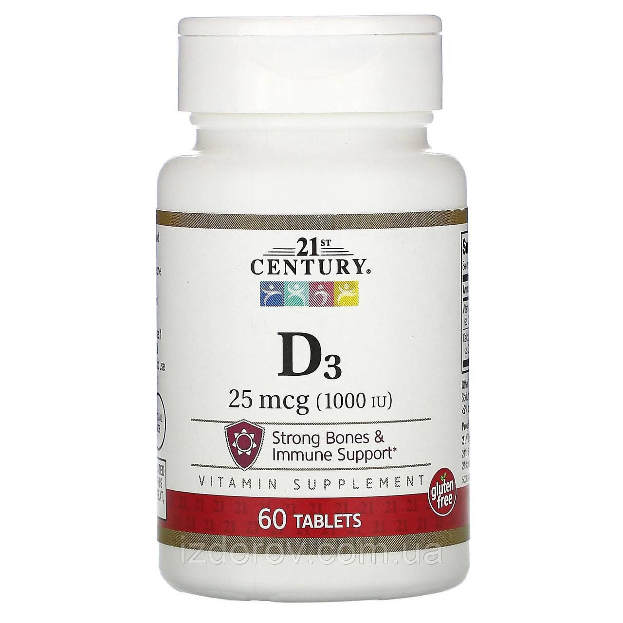21st Century, Вітамін D3, 25 мкг (1000 МО), 60 таблеток