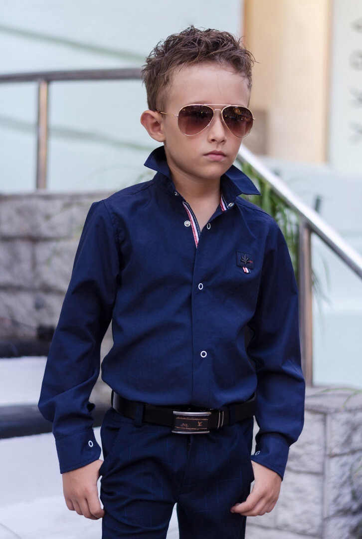 "Дитяча сорочка на кожен день для хлопчика ""Mini Man"". Стильна сорочка однотонна в школу"