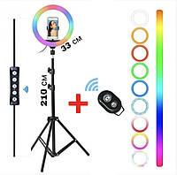 Кольцевая LED лампа RGB диаметром 33 см, штативом 2 метра и с держателем для телефона + Bluetooth пульт